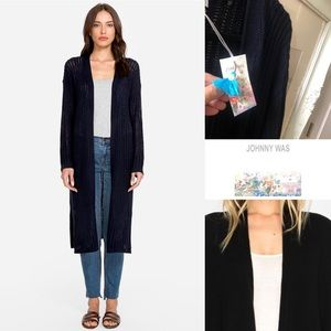 Johnny Was NWT open cashmere cardigan navy